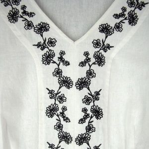 Sag Harbor Tops - White Embroidered Linen Rayon Tunic - 1X Plus Size